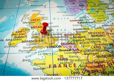 Red Thumbtack In A Map, Pushpin Pointing At Birmingham