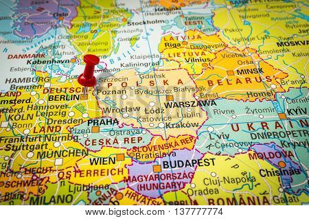 Red Thumbtack In A Map, Pushpin Pointing At Berlin