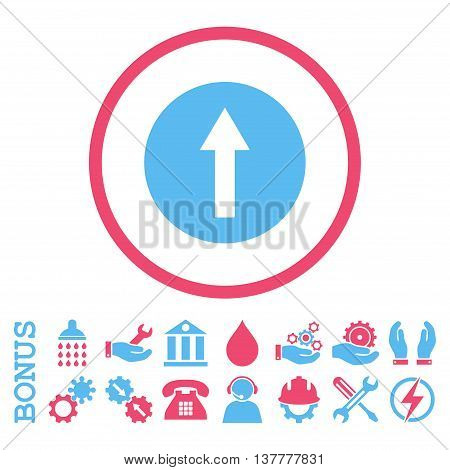 Up Rounded Arrow glyph bicolor icon. Image style is a flat pictogram symbol inside a circle, pink and blue colors, white background. Bonus images are included.