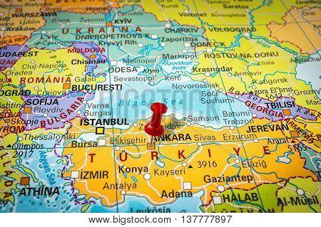 Red Thumbtack In A Map, Pushpin Pointing At Ankara