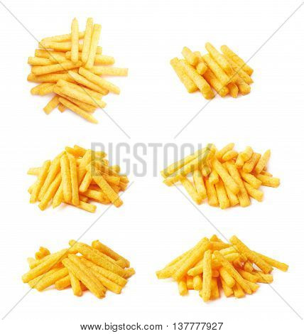 Pile of cheese puff stick corn snacks, composition isolated over the white background, set of six different foreshortenings