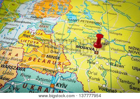 Red Thumbtack In A Map, Pushpin Pointing At Moscow