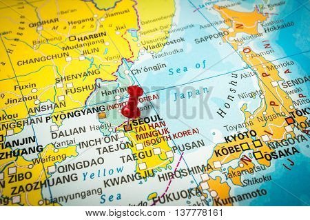 Red Thumbtack In A Map, Pushpin Pointing At Seoul