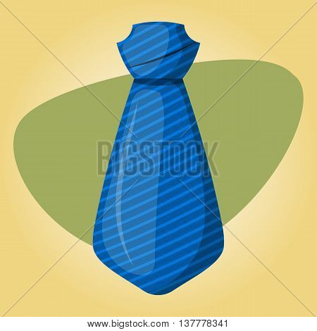 Blue tie colorful icon. Vector illustration in cartoon style