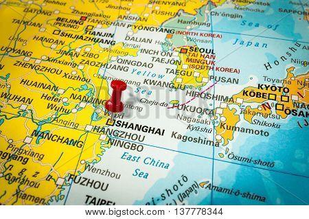 Red Thumbtack In A Map, Pushpin Pointing At Shanghai