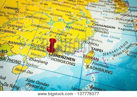 Red Thumbtack In A Map, Pushpin Pointing At Honk Kong