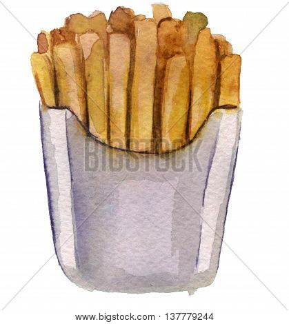 watercolor sketch of French fries in the package on a white background