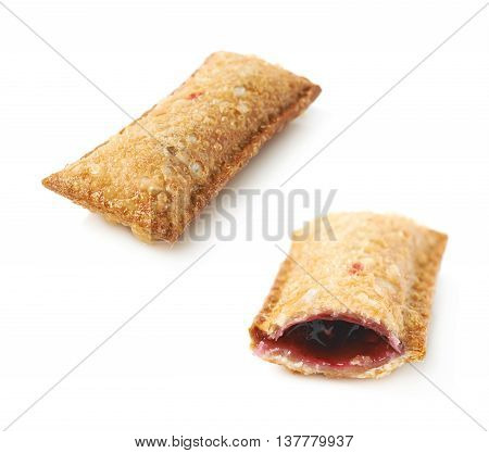 Oil fried wild berries jam crunchy pie with a singe bite taken, composition isolated over the white background, set of two different foreshortenings