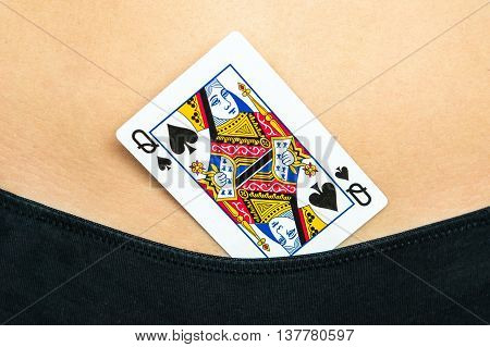 Female Sexy Body With Spades Queen Card In Panties