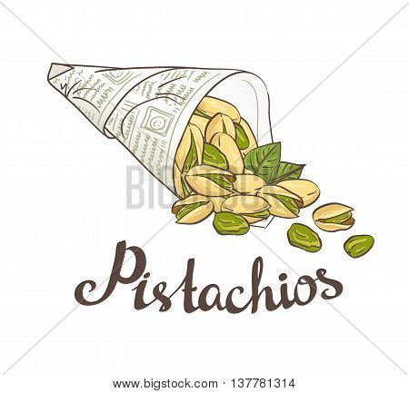 Bundle of newsprint with roasted pistachio nuts. Hand drawn vector poster.