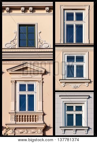 Collage set of old windows from Cracow Poland with bird spikes protecting against pigeons.