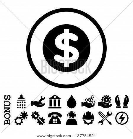 Finance glyph icon. Image style is a flat pictogram symbol inside a circle, black color, white background. Bonus images are included.