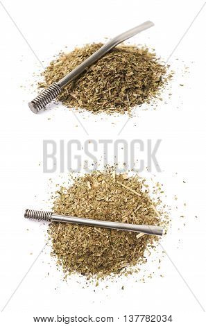 Pile of dry mate tea leaves with the bombilla drinking straw over it, composition isolated over the white background, set of two different foreshortenings