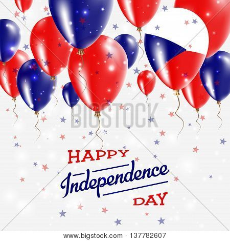 Czech Republic Vector Patriotic Poster. Independence Day Placard With Bright Colorful Balloons Of Co