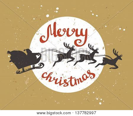 Santa Claus rides in a sleigh in harness on the reindeers. Retro merry christmas card on the cardboard. Vector illustration.