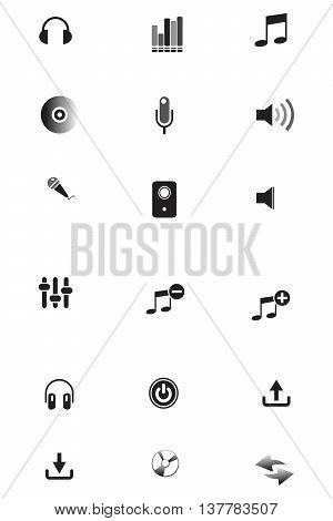 Music icons symbol radio single voice vector volume icon set