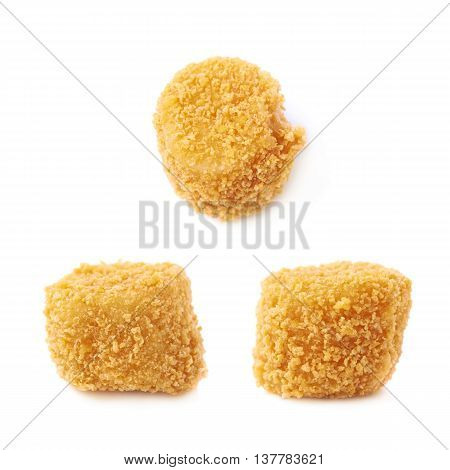 Breaded crab ball isolated over the white background, set of three different foreshortenings