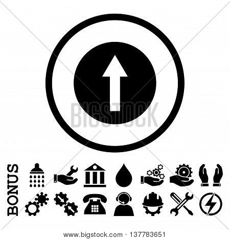 Up Rounded Arrow glyph icon. Image style is a flat pictogram symbol inside a circle, black color, white background. Bonus images are included.