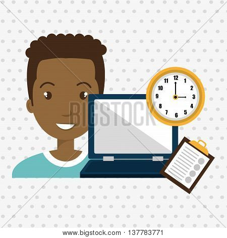 man with computer  isolated icon design, vector illustration  graphic