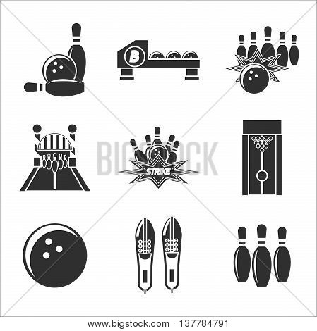 Bowling icon set. Vector illustration, EPS 10