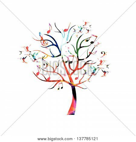 Colorful music tree with music notes and hummingbirds