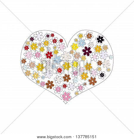 Flower heart on white background. Multicolored flowers arranged in shape of heart. Vector illustration.