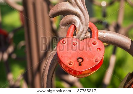 Love Padlock Or Love Lock On A Railing