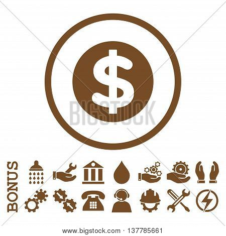 Finance glyph icon. Image style is a flat pictogram symbol inside a circle, brown color, white background. Bonus images are included.