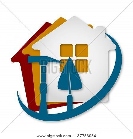 Construction of houses for business sign vector