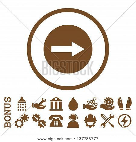 Right Rounded Arrow glyph icon. Image style is a flat pictogram symbol inside a circle, brown color, white background. Bonus images are included.