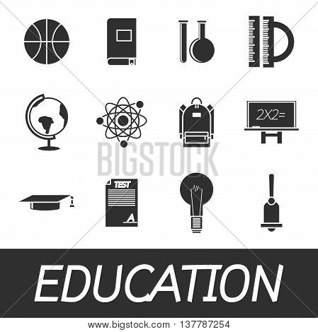 Set of education icons for design. Vector illustration, EPS 10