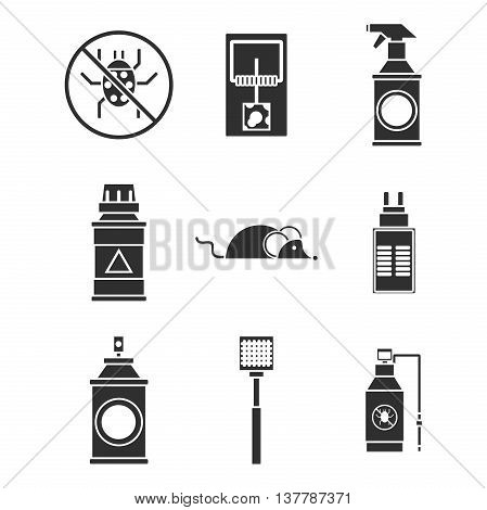 Exterminator service icons set . Vector illustration, EPS 10