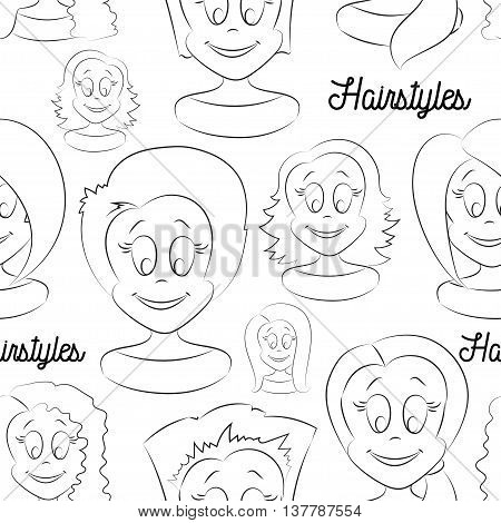 Fashion female avatars. Hairstyles pattern, eyes and mouths are interchangeable. Vector file, isolated objects.