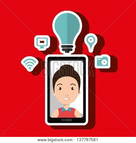 Smartphone and woman isolated icon design, vector illustration  graphic