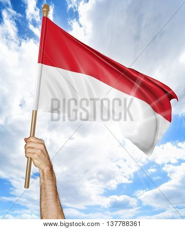 Person's hand holding the Indonesian national flag and waving it in the sky, 3D rendering