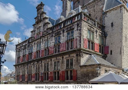 The City Hall in Delft is a Renaissance style building on the Markt Netherlands