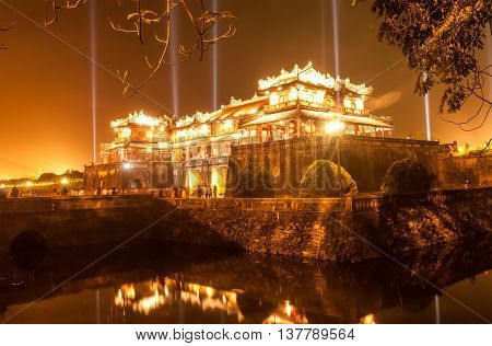 HUE, VIETNAM, April 30, 2016 World Heritage, the royal Hue, central Vietnam. In the evening