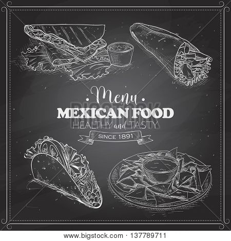 Scetch of mexican food menu on a black board. Vector illustration, EPS 10