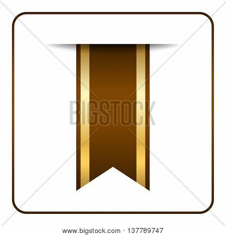 Brown and gold bookmark banner. Vertical book mark isolated on white background. Color tag label. Flag symbol sign. Design element blank. Empty sticker for sale. Template icon. Vector illustration