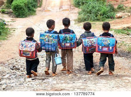 YEN BAI, VIETNAM, August 18, 2015 the group of children, Hmong, high mountains, Mu Cang Chai, Yen Bai, on the way to school
