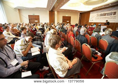"MOSCOW - OCTOBER 2: Conference ""Stock in Russia 09"" on October 2, 2009 in Holiday Inn Lesnaya, Moscow, Russia. Side view of audience"