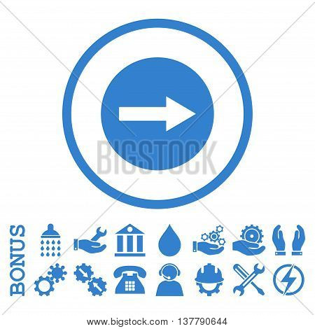 Right Rounded Arrow glyph icon. Image style is a flat pictogram symbol inside a circle, cobalt color, white background. Bonus images are included.