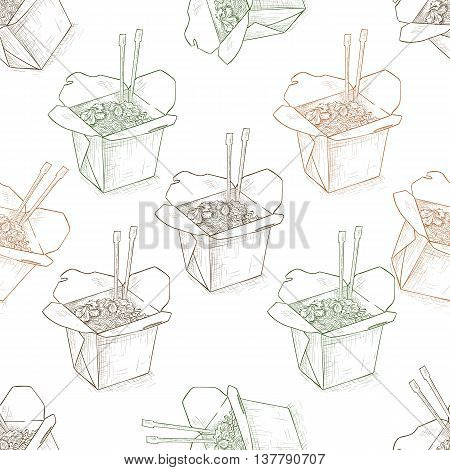 Seamless pattern scetch of chinese noodles box. Vector illustration, EPS 10