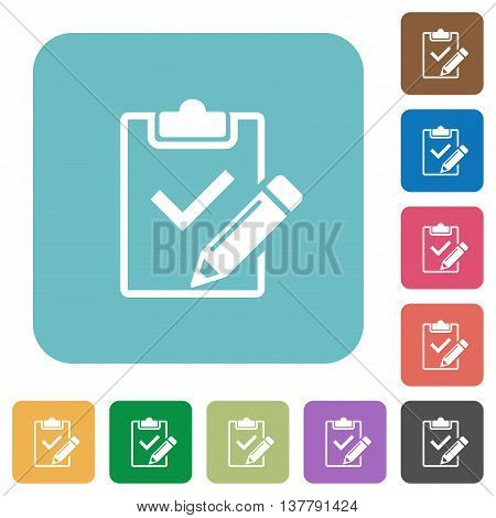 Flat fill out checklist icons on rounded square color backgrounds.