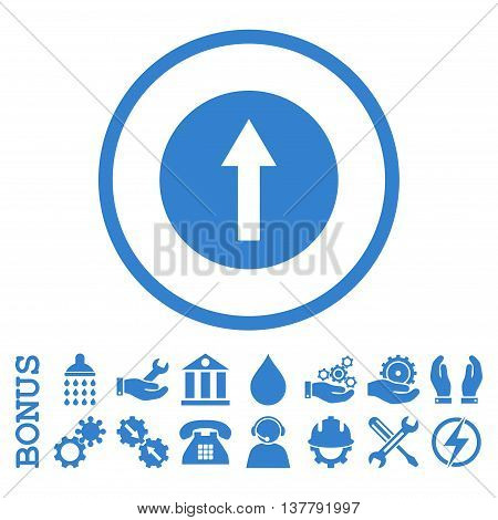 Up Rounded Arrow glyph icon. Image style is a flat pictogram symbol inside a circle, cobalt color, white background. Bonus images are included.