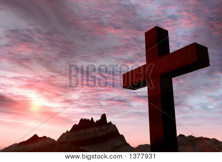 Red Stone Cross On A Background Of Extremely Storm Sky And Mount