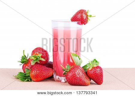 strawberry juice in glass Isolated on white background