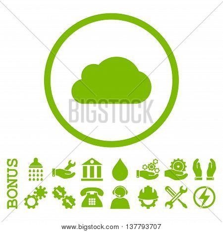 Cloud glyph icon. Image style is a flat pictogram symbol inside a circle, eco green color, white background. Bonus images are included.