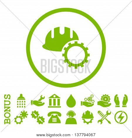 Development Hardhat glyph icon. Image style is a flat pictogram symbol inside a circle, eco green color, white background. Bonus images are included.