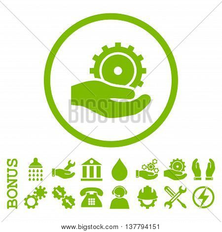 Development Service glyph icon. Image style is a flat pictogram symbol inside a circle, eco green color, white background. Bonus images are included.